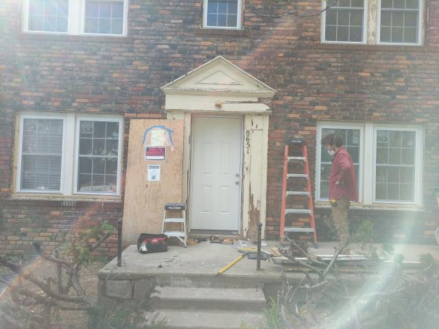 Detroit, MI - These special order doors took about 8 weeks to arrive, all the more reason to get your selections in to your Contractor early, early, early!  Excited to bring this entry door trim back to life.