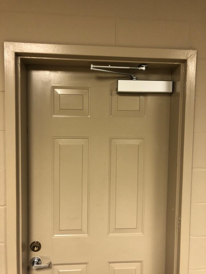 Commercial door closer installed at Santuck community Center and flea market.