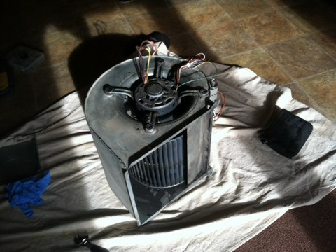 Jamison, PA - Heater Repair - Installed New 3/4 hp blower wheel motor .