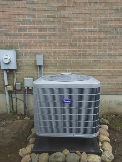 """Fairfield, OH - I completed an install of a Carrier Variable Speed 3 Ton Electric Furnace/ """"Slant"""" Coil, a Carrier 16 SEER 3 Ton Heat Pump, and an Aprilaire 600M Humidifier."""
