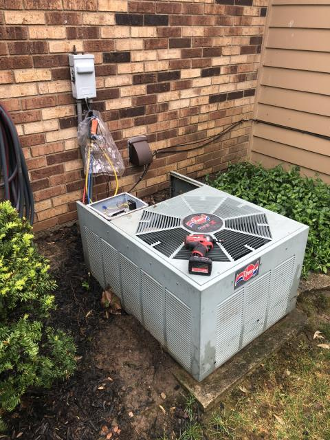 Fairfield, OH - I completed the spring tune up on a Rheem air conditioner.  I visually inspected the furnace.  Checked voltage and amps. I inspected the evaporator coil.  I checked the temperature difference across the coil.   Checked refrigerant charge, voltages and amps.  I rinsed the condenser coils with water.  Cycled and monitored the system.  Operating normally at this time.