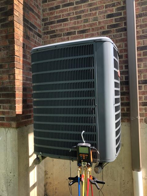 Hamilton, OH - I completed the spring tune up on a Goodman air conditioner.  I visually inspected the furnace.  Checked voltage and amps. I inspected the evaporator coil.  I checked the temperature difference across the coil.   Checked refrigerant charge, voltages and amps.  I rinsed the condenser coils with water.  Cycled and monitored the system.  Operating normally at this time.