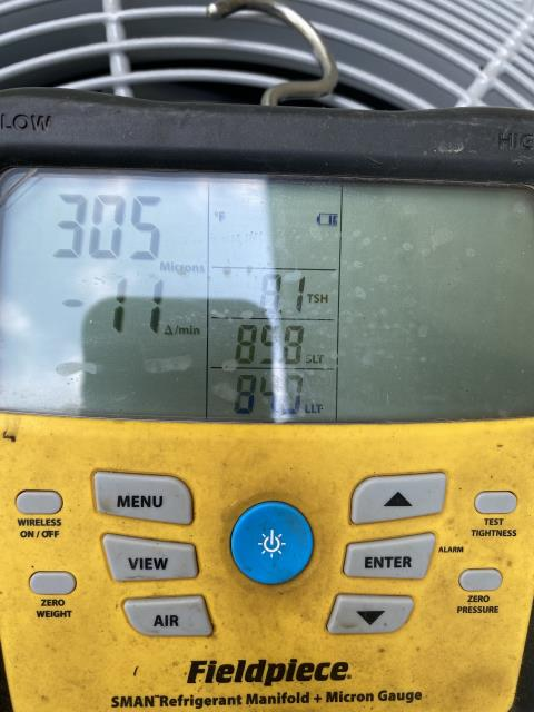 Hamilton, OH - I completed a call-back for an installation issue. Customer had informed me that the system was not reaching desired temp. Upon further inspection, I gathered the following: Refrigerant levels:113/300 4.5SH. 52F out of the register closest to furnace and 56F out of the register farthest away. Return temp is 68 and evap saturation temp is 38F so it's exactly where it should be. We were supposed to relocate thermostat and install a return grill onto the return drop to increase airflow. Currently we have the bottom door off furnace and a filter tapped to it to increase airflow. Temp in hallway where Tstat is located is 75 but temp is 70F in living room where the only 2 returns in the house is located. Will have to come back out and install Tstat and install a return grill onto the return drop.