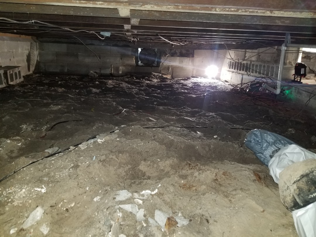 Crawl space mold remediation and barrier encapsulating.