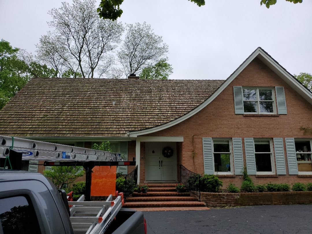 Northfield, IL - removal of cedar shake roof. Estimate to install new asphalt shingle roof