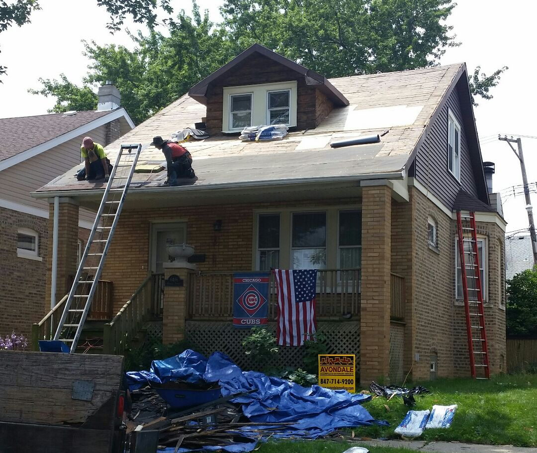Roof replacement in progress.