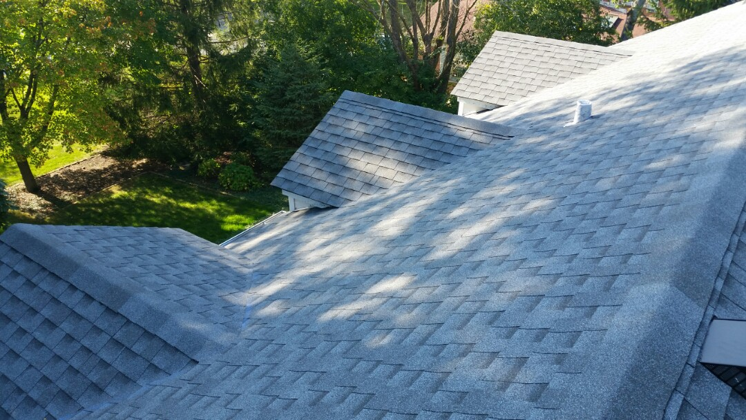 Roof Installation completed using GAF Timberline lifetime Architectural shingles.  Color: Pewter Gray