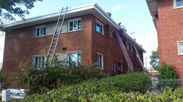 Installation of new gutter/downspout system.