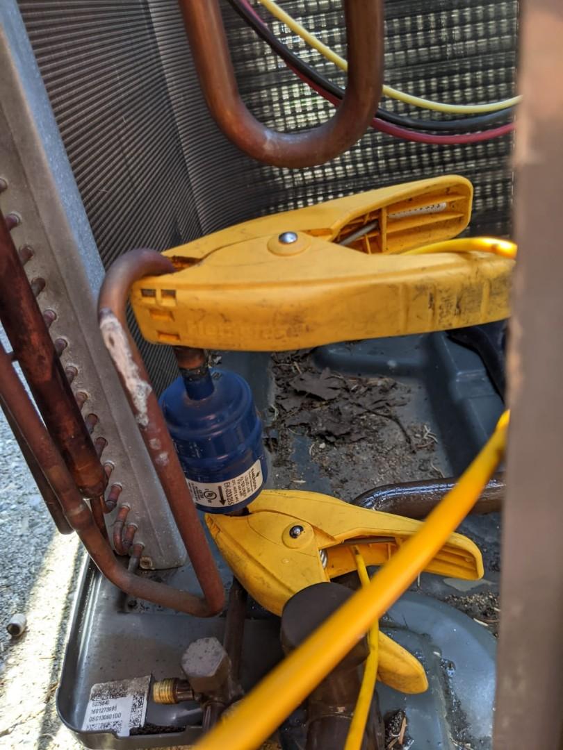 Southfield, MI - Goodman air conditioner. Line dryer restriction.