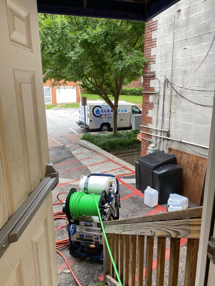 Clemson, SC - Hydro jetting main sewer line at a local pizza shop
