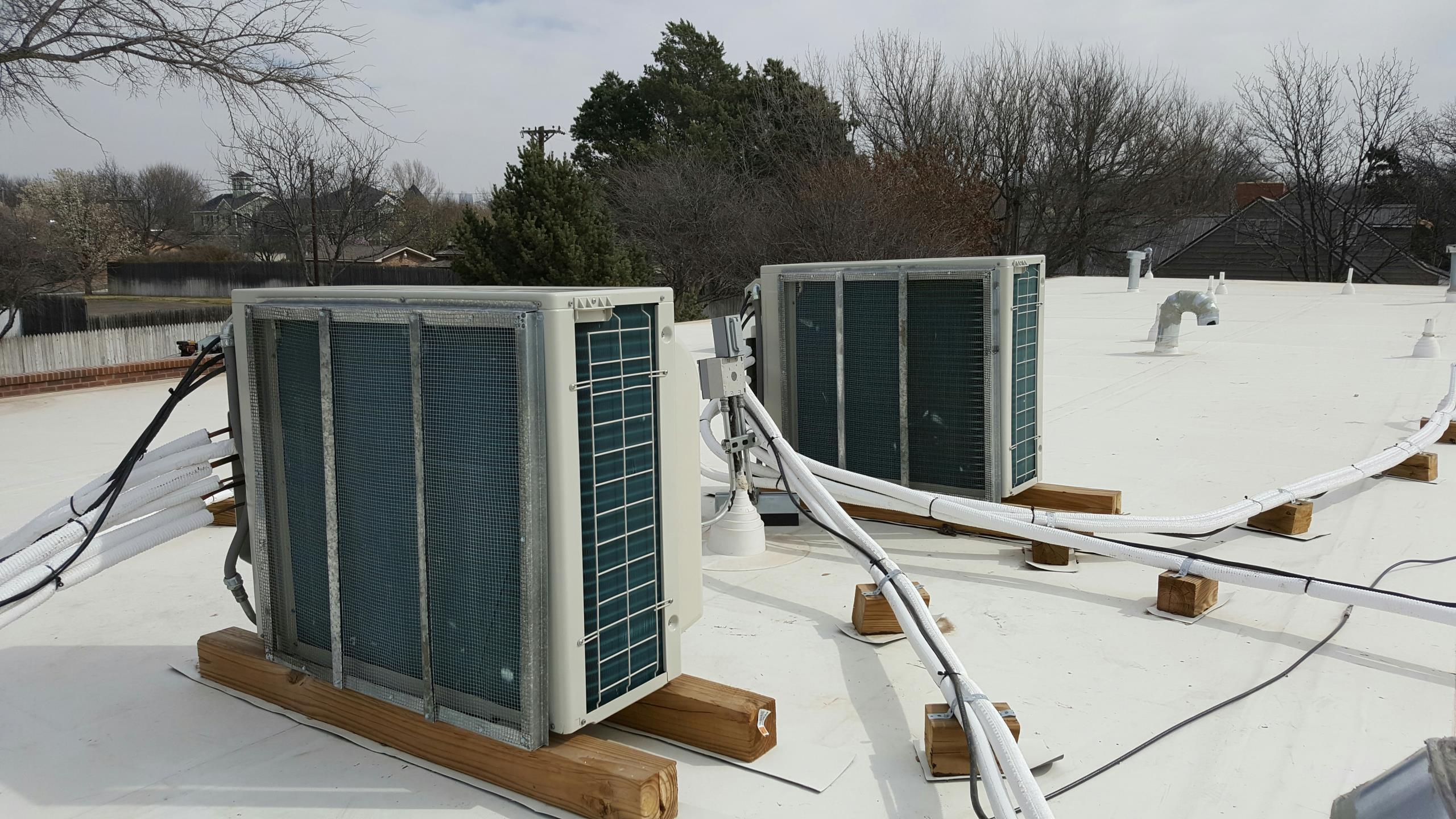 Amarillo, TX - Installation of mini split condenser Hail guards by Amarillo air conditioning.
