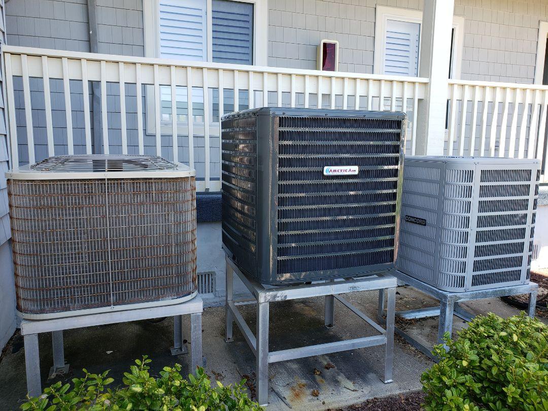 Ocean City, MD - Installing arctic air heat pump in hidden harbour ocean city md.