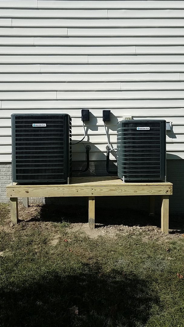 Berlin, MD - Completing installation of 2 Arctic Air heat pump systems for a family in Berlin at Decatur Farms