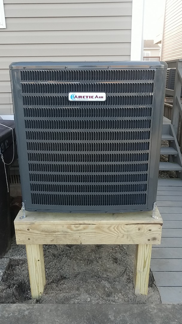 Ocean City, MD - Completing installation of Arctic Air heat pump system (Coastal Series) for a family in ocean city