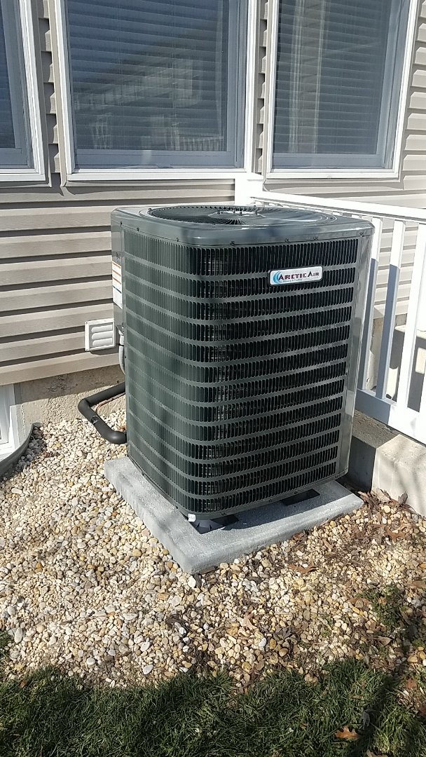 Millsboro, DE - Completing installation of Arctic Air heat pump/gas furnace duel fuel system for a family in Millsboro DE