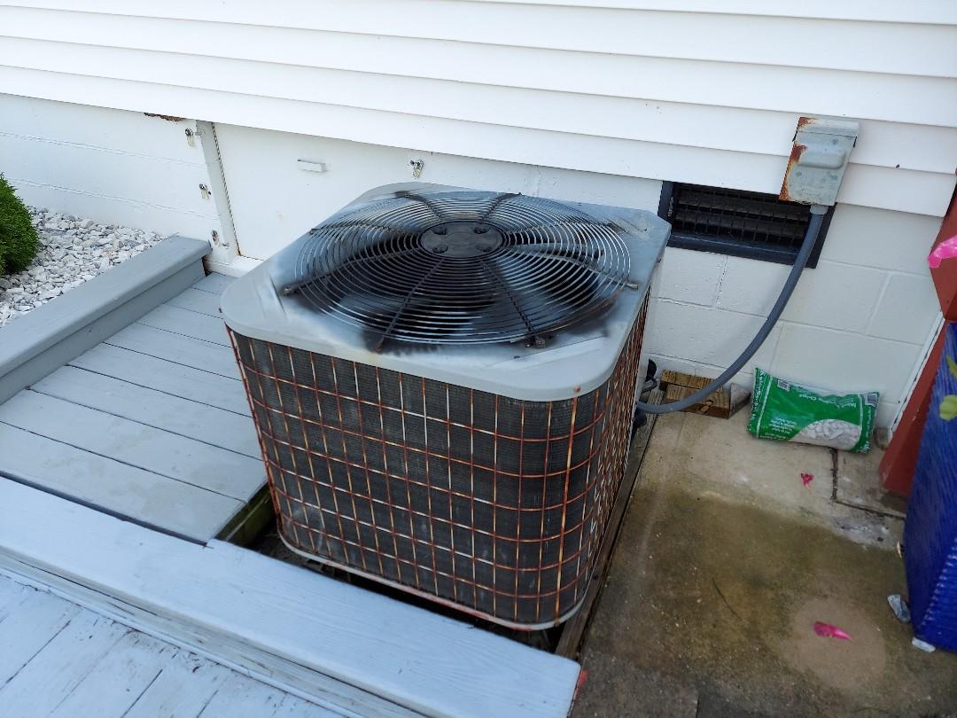 Preforming preventative maintenance on a carrier heat pump in Ocean city MD
