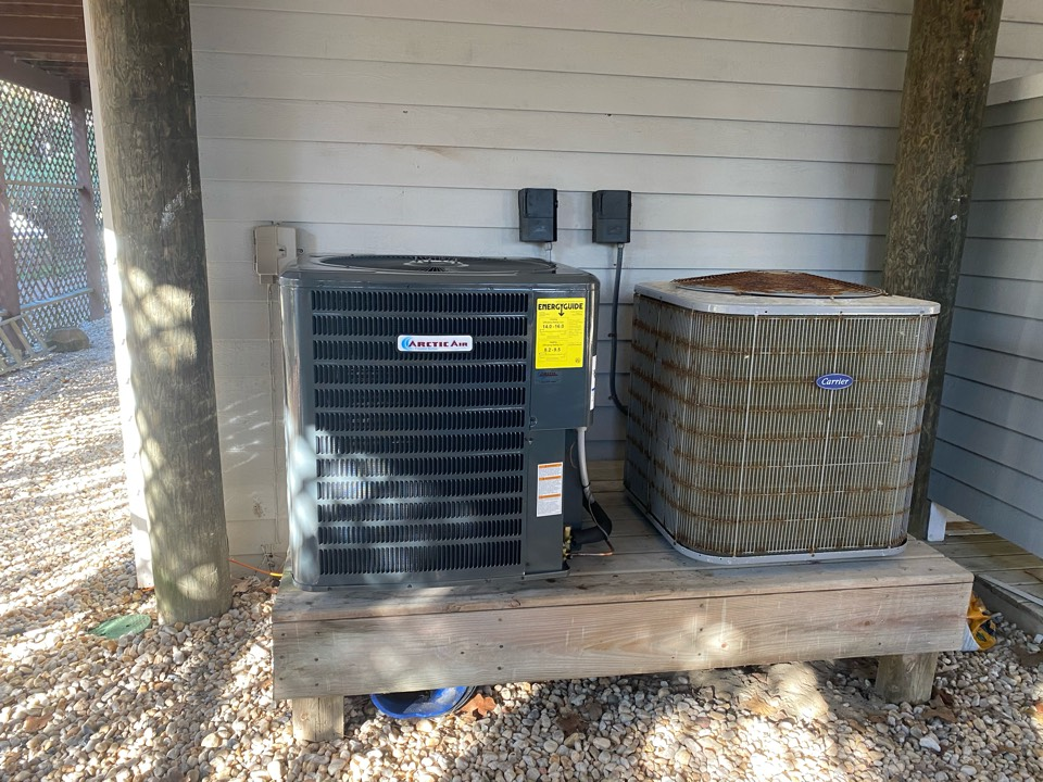 Installing a 16 seer Arctic Air heat pump system in a single family home in Bethany Beach