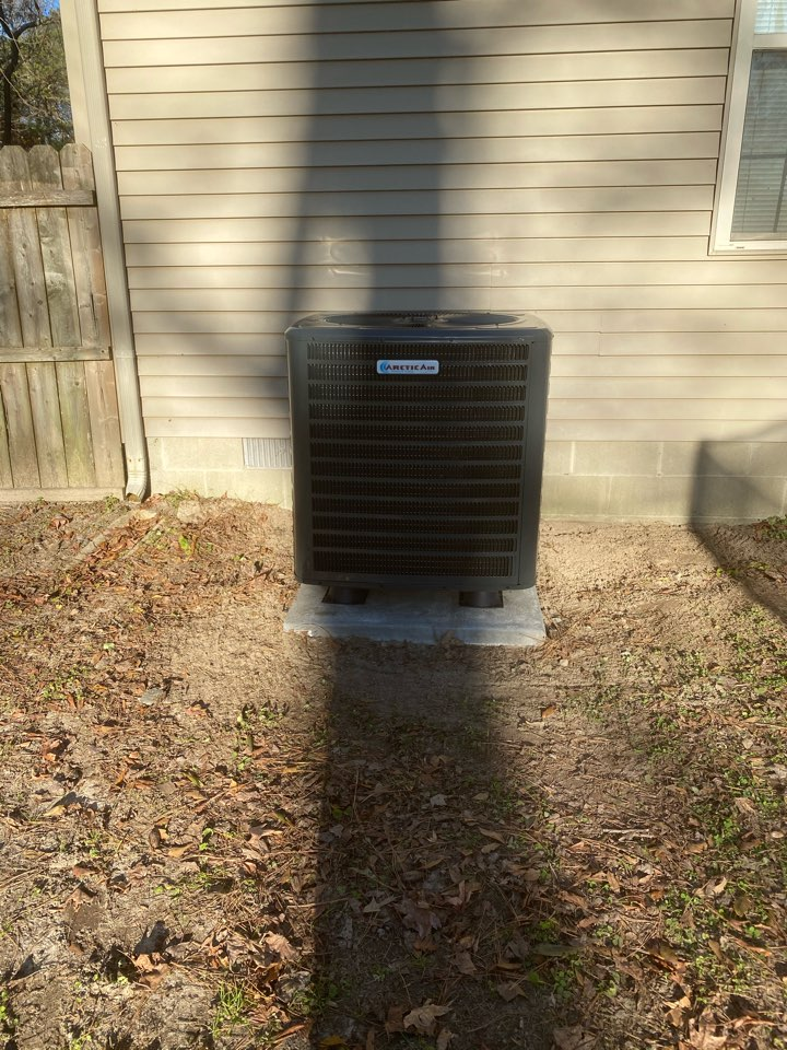Installing a new 16seer Arctic Air heat pump system in a single family home in Snow Hill MD