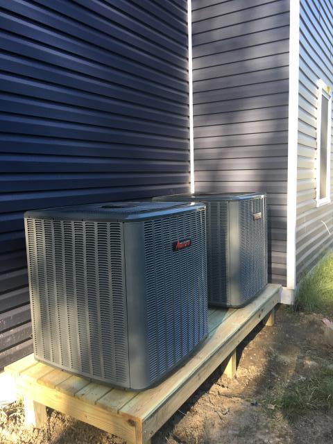 Berlin, MD - Performed new installation of two Amana inverter heat pumps, with electric Air Handlers, all new ductwork, line set, electrical, and condensation lines for a family in Berlin, MD