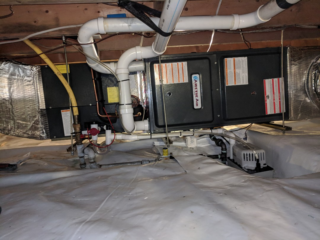 Berlin, MD - Installed gas furnace and HP hybrid system in Berlin, and modified ductwork