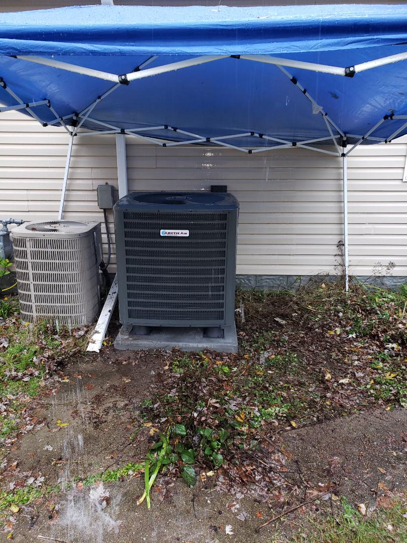 Berlin, MD - Installing a new 16 seer Arctic Air heatpump system in a single family home in Berlin Maryland