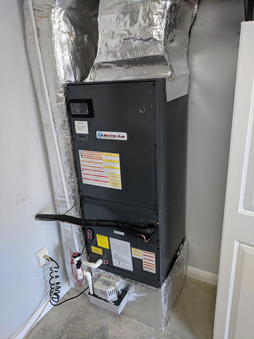 Selbyville, DE - Installed upflow Arctic Air heat pump system with upflow air handler in garage in Selbyville De