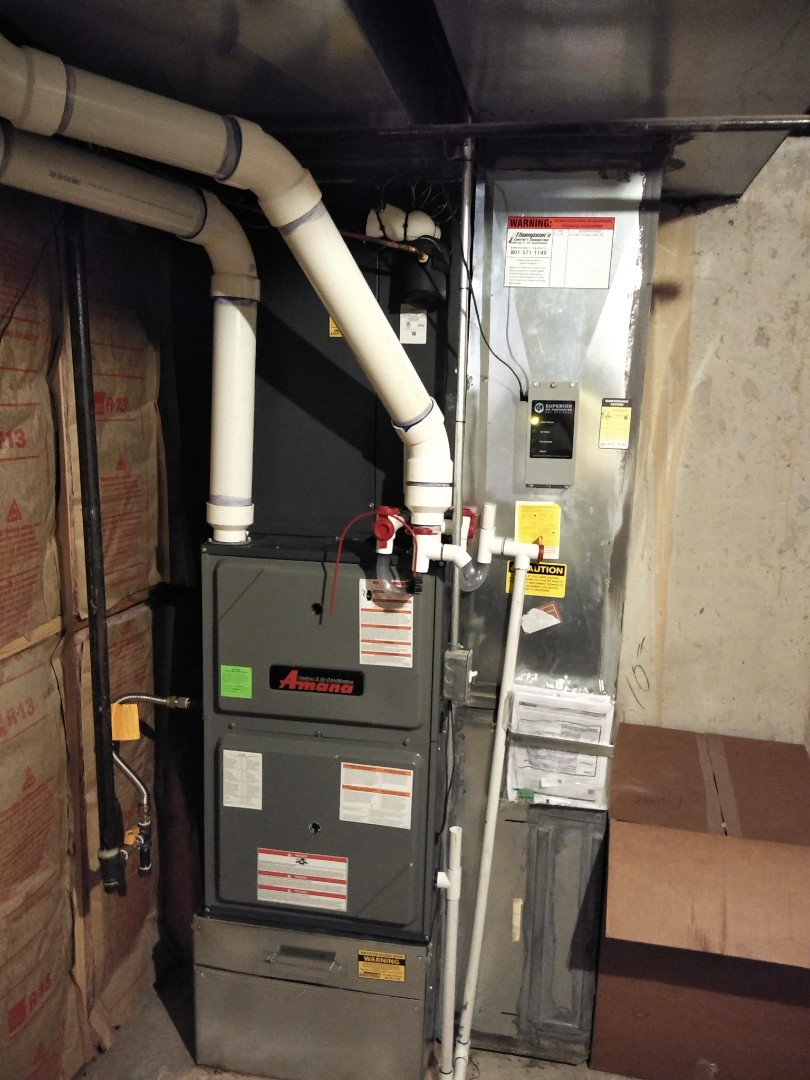 South Jordan, UT - Furnace and AC replacement call. Install new high efficiency 2 stage Amana furnace and air conditioning.