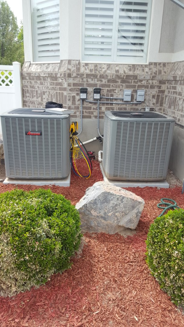 South Jordan, UT - A/C tune up on two Amana air conditioners.