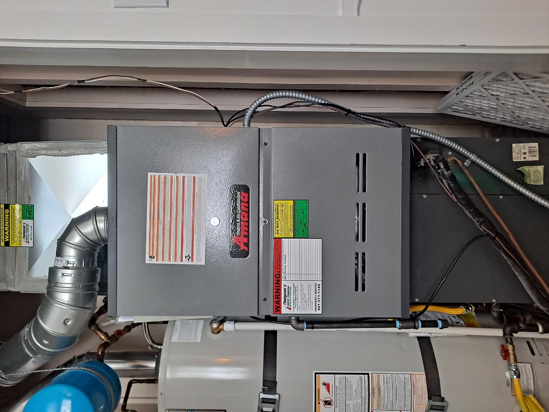 Cottonwood Heights, UT - Furnace replacement call. Install Amana 80% efficiency 100k btu Furnace