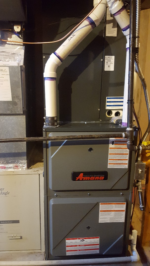 South Jordan, UT - Installing new amana high efficiency 96% furnace with 16 seer high efficiency amana air conditioner. Adding humidifyer and three 7 inch heat runs.
