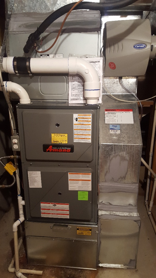 Salt Lake City, UT - Installing new amana high efficiency furnace with existing air conditioner and humidifier.