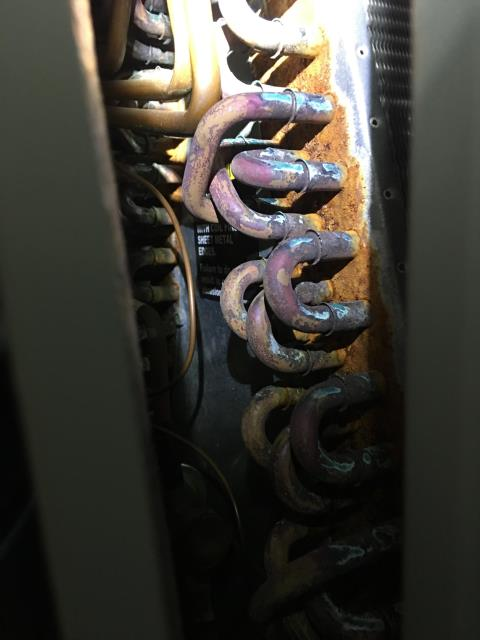 Alpharetta, GA - 2 system air conditioning prepaid preventative maintenance. Replaced filter, cleared drain and clean coil. Found upstairs with rusty coil and some mold growth on supply plenum. Needs a UV light to kill mold. Upstairs system low on freon added 2 lbs of freon to the upstairs unit and 1 lb of r410a to the downstairs system. Both system cooling at this time.
