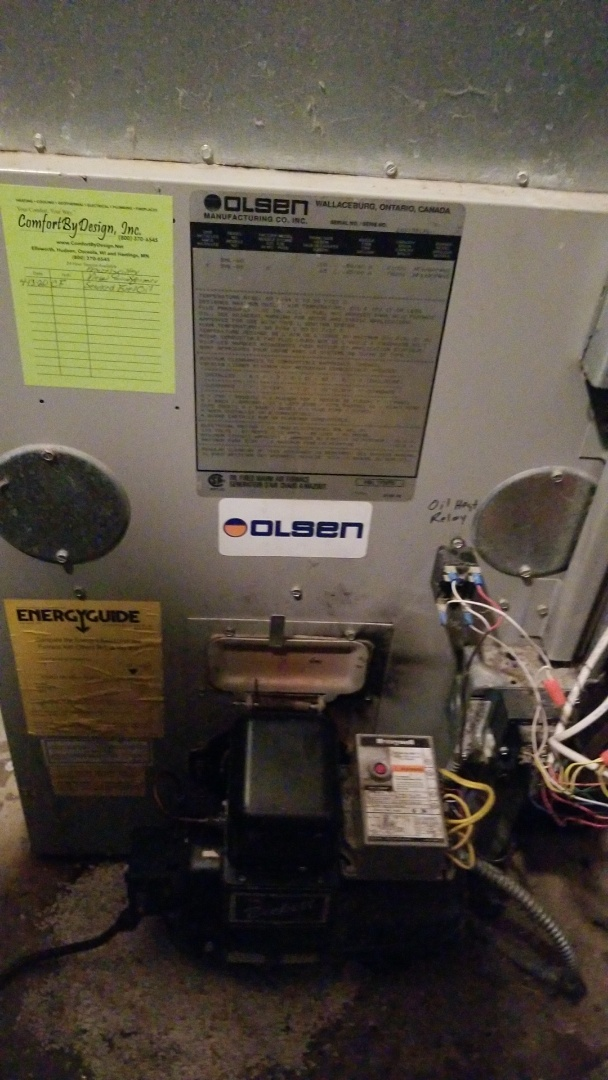 Hager City, WI - Olsen fuel oil furnace repair
