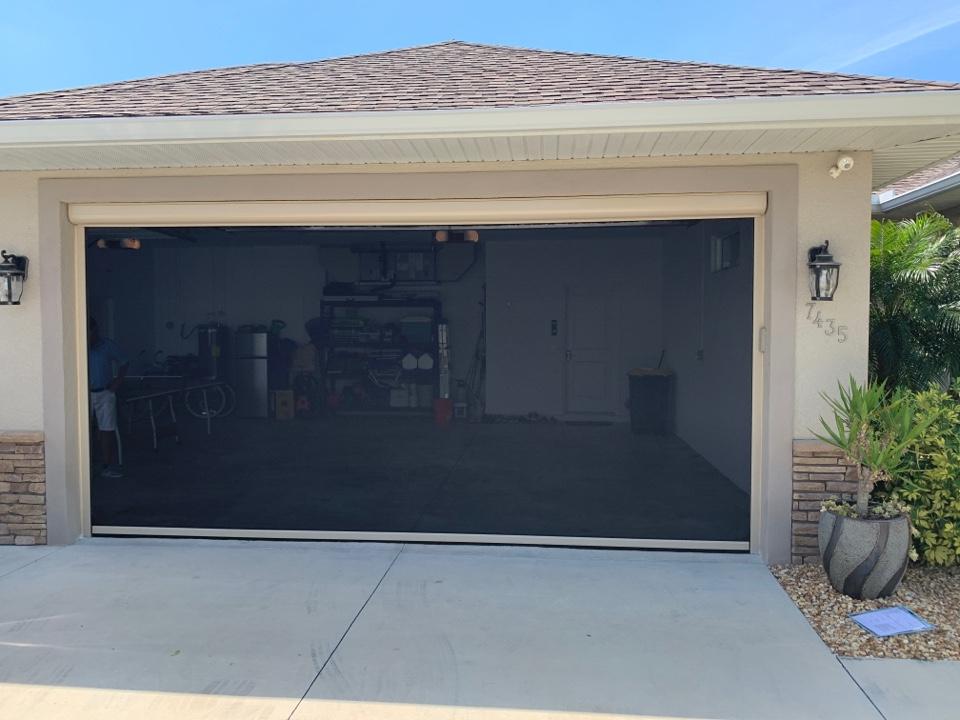 Installed garage screen