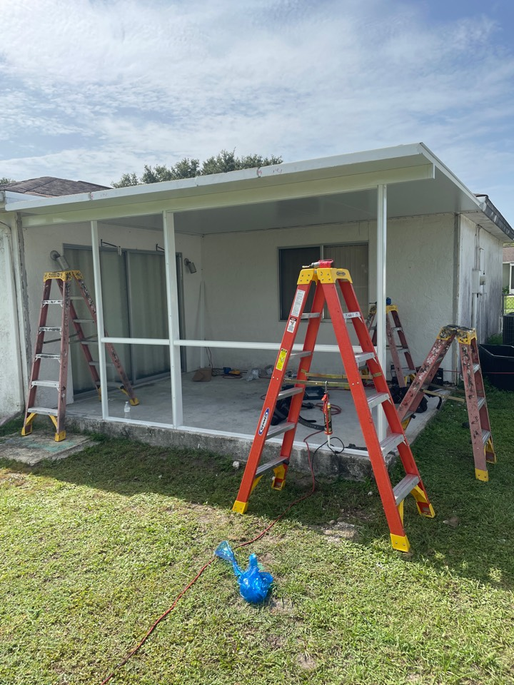 Construct screen enclosure with elite roof Harpers 1980 LLC