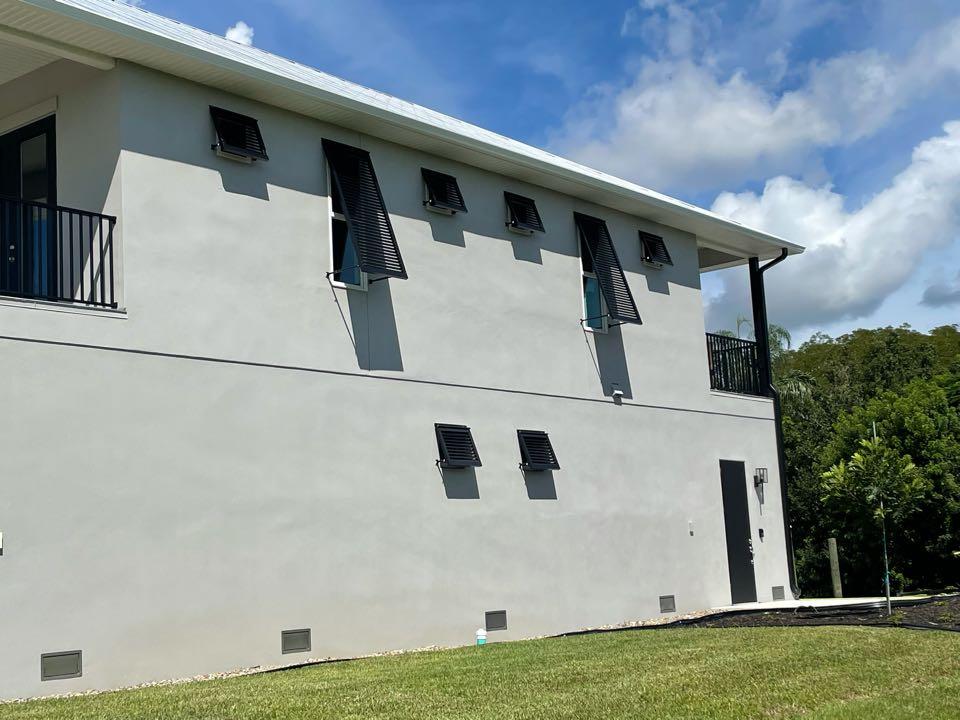 Installed decorative bahama shutters