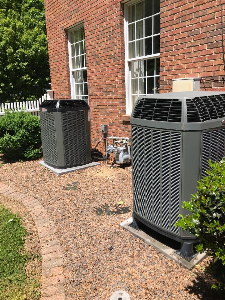 Evansville, IN - Summer maintenance on 2 Trane air conditioners.