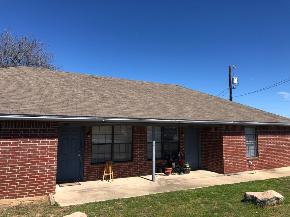 Kingsland, TX - Quoting a roof repair/replacement and a gutter replacement on a duplex in kingsland.