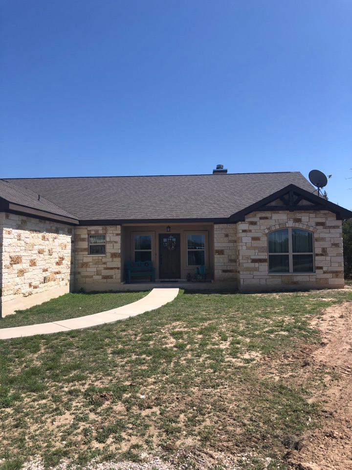"Burnet, TX - Quoting a 5"" gutter install on a composition style roofed home in burnet."