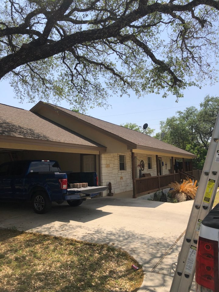 Kingsland, TX - Just completed a shingle and pipe boot repair on a single story home in kingsland. Homeowner had damaged shingles and chewed pipe flashing from squirrels.