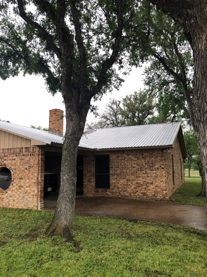 Llano, TX - Metal roof was severely damaged by a hail storm. Writing up a scope to remove and replace the current roofing to get the home in pre storm condition.