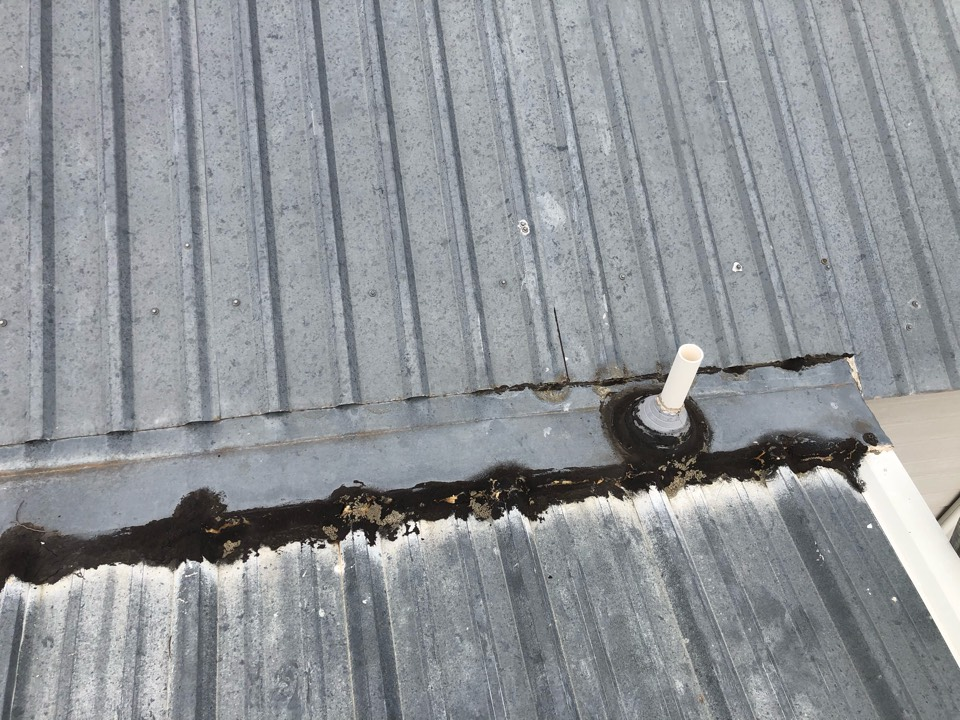 Llano, TX - Customer has leaking pipe jack in his slope transition. Proposing a reseal repair to eliminate the leak.