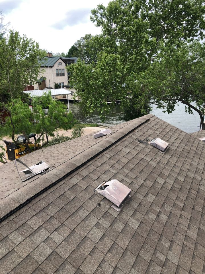Marble Falls, TX - Customer has torn up vents from animal intrusion. Recommending having pest control remove the animals, then replace the damaged vents and shingles.