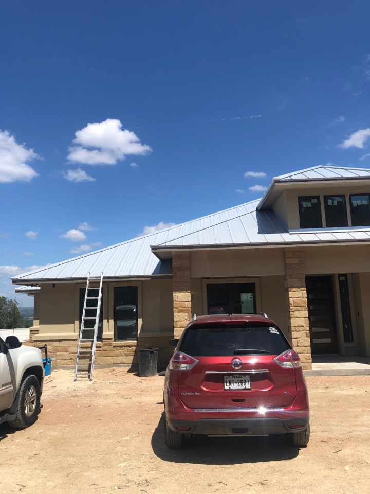 """Burnet, TX - Quoting a 6"""" gutter install to protect the AC and pool on a newly constructed home in Burnet."""