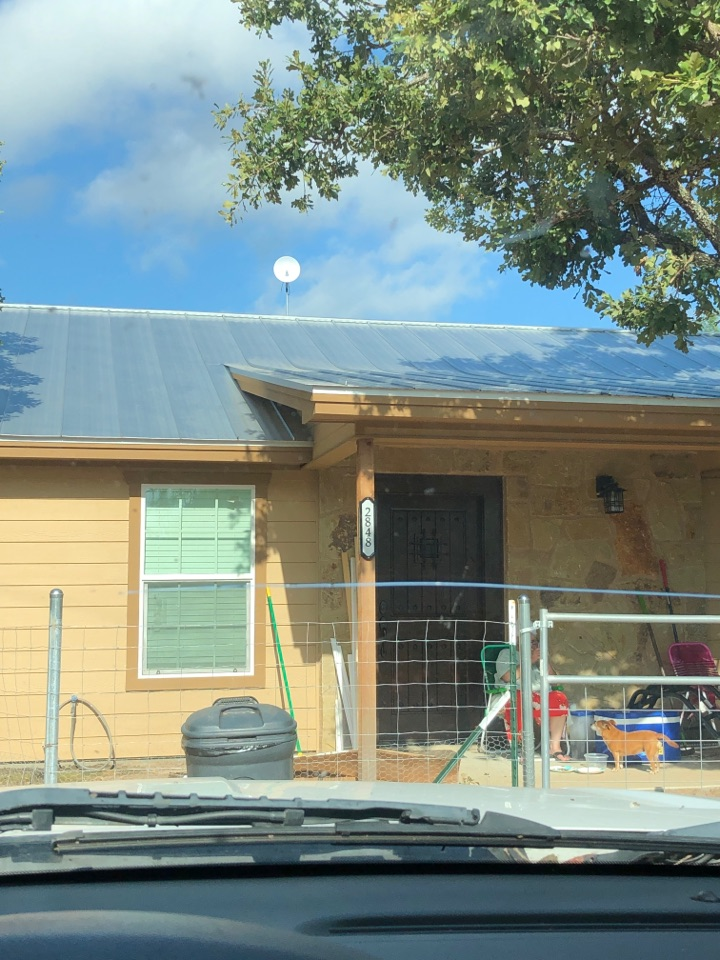 """Kingsland, TX - Quoting a 5"""" gutter system plus leaf screen install to prevent water erosion on a small newly built home in kingsland."""