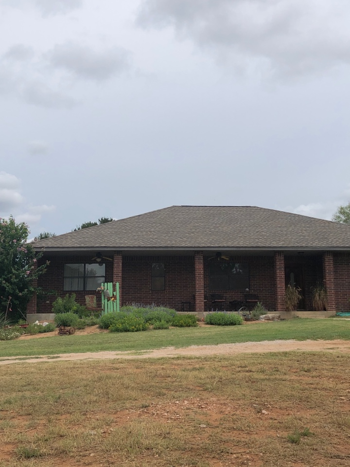 Llano, TX - Finishing up a class IV impact resistant laminated shingle replacement on a home in llano today.