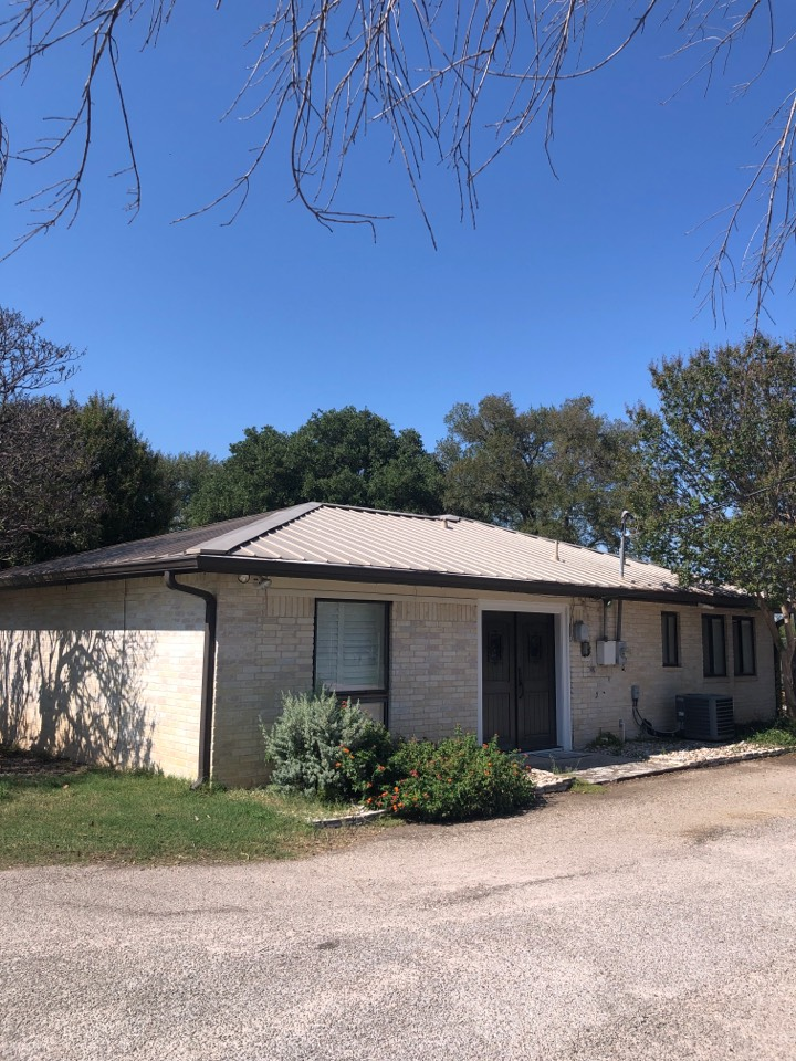"""Marble Falls, TX - Quoting a 5"""" gutter install as well as a reslope and downspout install on a home with some new construction and drainage issues in marble falls."""