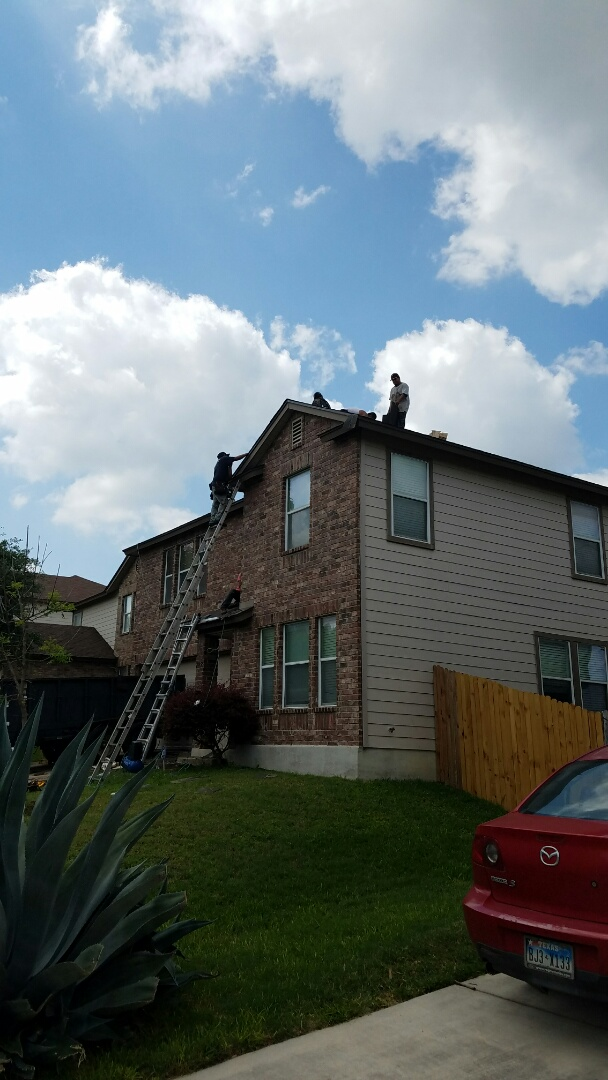 San Antonio, TX - Finishing up a roof replacement with GAF Lifetime Laminate roof in Timberline HD weathered wood