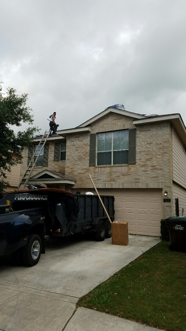 San Antonio, TX - Replacing hail damaged roof with GAF Royal Sovereign in Weathered Gray
