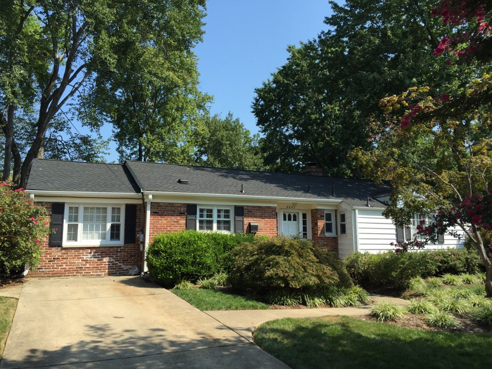 Alexandria, VA - Just finished a new GAF timberline HD shingle roof in charcoal, new gutters and downspouts to finish it off